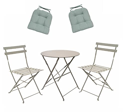 east2eden Metal 2 Seater Patio Bistro Garden Chair & Table Set with Seat Pad Cushion (Grey with Teal Blue Cushions)