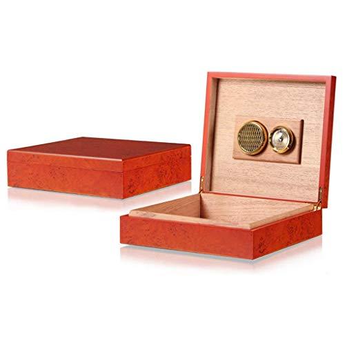 CLJ-LJ Viajes humidor del cigarro caja de cigarro caja de madera de cedro humidor de puros con higrómetro portátil contiene 20 cigarros Tamaño: 216 * 241 * 63 mm ble for la oficina de Nueva clásica hu