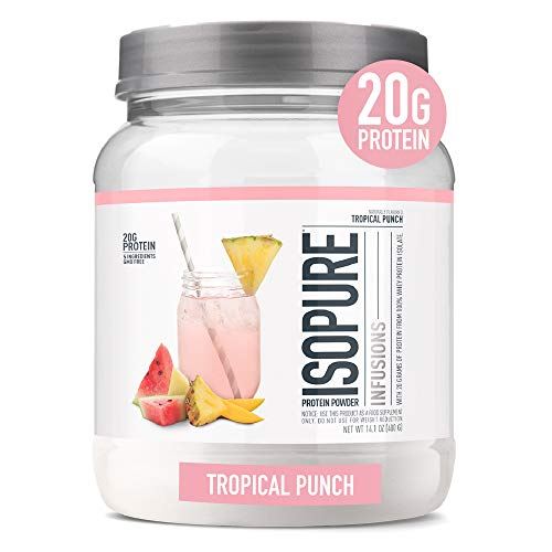 "Isopure Infusions Refreshingly Light Fruit Flavored Whey Protein Isolate Powder ""Shake Vigorously amp Infuses in a Minute"" Tropical Punch 16 Servings"