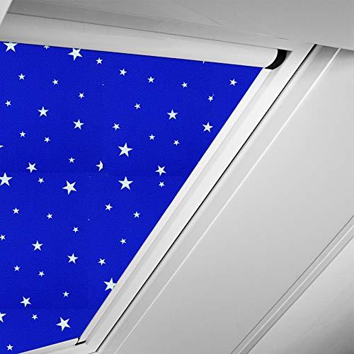 Roto Original Verdunkelungsrollo ZRVM für 617, Fenstergröße 7/11 in der Stofffarbe 3-V62/Sterne-marineblau, WDF KAW KEW Rollo Rollos