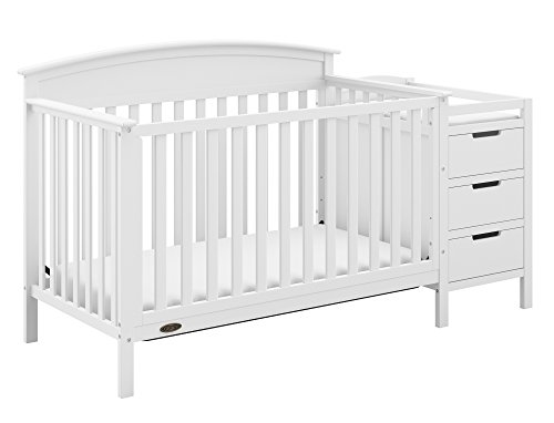 Graco Benton 4-in-1 Convertible Crib and Changer, White, Solid Pine and Wood Product Construction, Converts to Toddler Bed or Day Bed (Mattress Not Included)