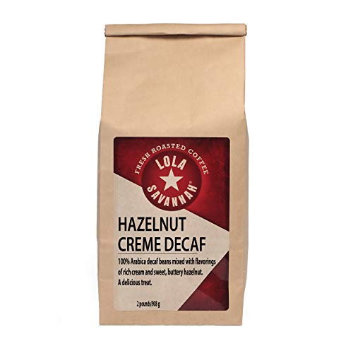 Lola Savannah Hazelnut Creme Whole Bean Decaf, Flavored with Sweet Buttery Essence of Hazelnuts