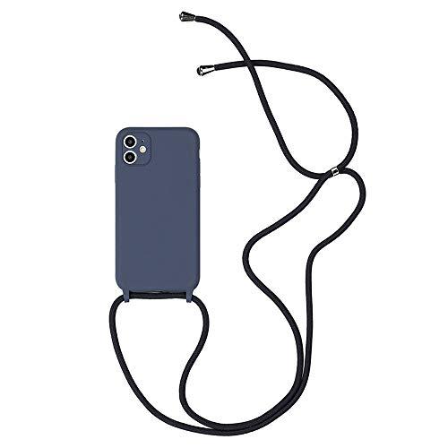 Hadwii Funda iPhone 8 7 Plus Funda con correa de silicona líquida Funda protectora transparente con cordón de cordón Longitud ajustable Bumper a prueba de golpes para iPhone 8 7 Plus - Gris