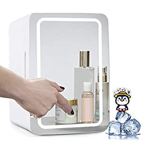 HANSHUMY 8L化粧品冷蔵庫 -2℃~65℃ LED化粧鏡 保冷 保温 ポータブル ミニ 小型 100V 12V タッチ式明るさ調整 1ドア スキンケア 寝室 オフィス 車 学生 環境温度より20℃低い プレゼント ホワイト