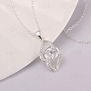 Home Europe and The United States Simple Fashion Silver Plated Gemstone Accessories high-end Custom Ladies Jewelry Necklace (Color : White) Girls Necklace (Color : White)