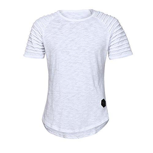 Herren T-Shirts URSING Basic Shirt Rundhalsausschnitt Hip Hop Einfarbig Slim Fit Bluse Kurzarmshirt Casual Tees Sweatshirt Mode Blusen Streetwear Sportlich Sommerkleidung Sommer Tops (M, Weiß#)