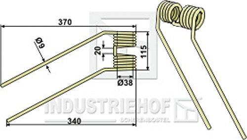 Kreiselheuerzinken 370-115-9 mm Ausführung links für Claas - Farbe Beige/Best.-Nr. 15-CLA-14