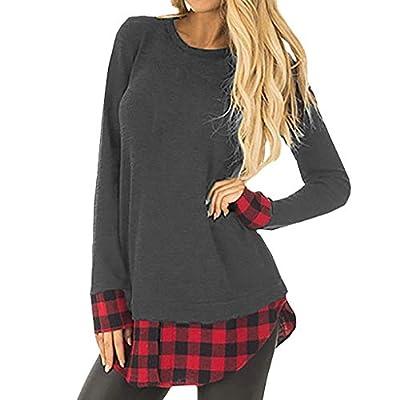 Womens Patchwork Tunic Plaid Shirts Long Sleeve Pullover Sweatshirt