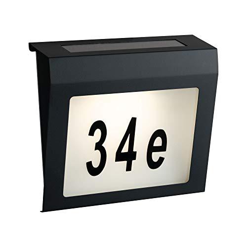 Paulmann 94236 Solar Hausnummernleuchte LED Außenleuchte incl. 1x0,04 Watt Anthrazit Kunststoff 3000 K Warmweiß, 0.04 W