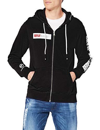 Replay Herren M3322 Sweatshirt, 098 Black, XL