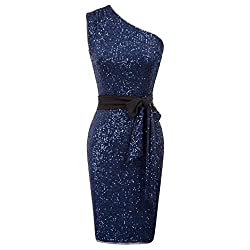 Dark Blue Sequins 1-Shoulder Hips-Wrapped Removable Ribbon Dress
