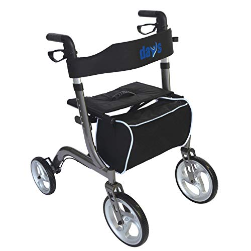 Days Collapsible Rollator, Rolling Walker with Seat for Elderly, Disabled, & Limited Mobility Patients, Walking Stabilizer with Four Wheels, Durable Mobility Aid, Lightweight Aluminum Frame