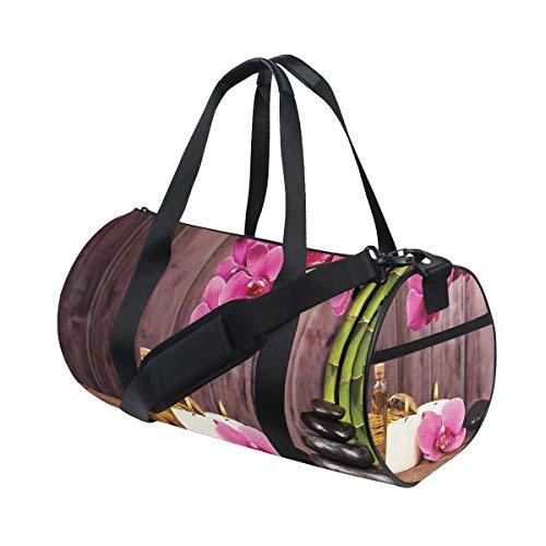 HARXISE Bolsa de Viaje,Flor peonías y Estampado Floral de Hoja,Bolsa de Deporte con Compartimento para Sports Gym Bag
