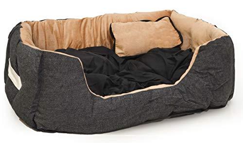 EYEPOWER Katzenbett Hundebett 60x50x18 cm Katzenkissen Hundekissen Waschbar Tierkissen Tierbett Innenkissen Schwarz-Beige