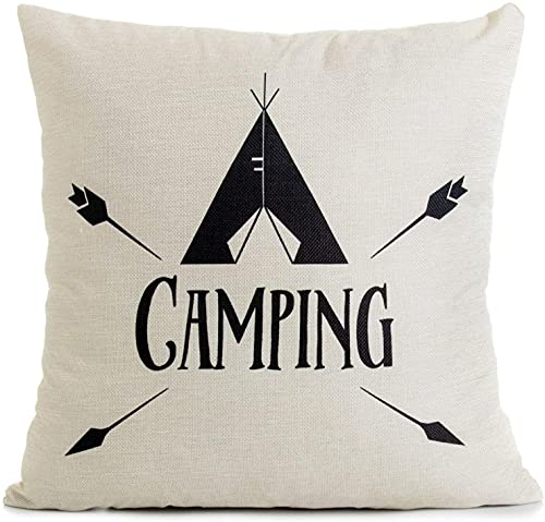 BONRI Decorative Throw Pillow Case Cushion Covers, 18' x 18', Camping, for Camper Sofa Couch Bed Decor