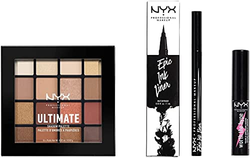 NYX Professional Makeup Kit Occhi, Epic Ink Liner, Set Make Up, Worth The Hype Mascara, Ultimate Shadow Palette Warm Neutrals