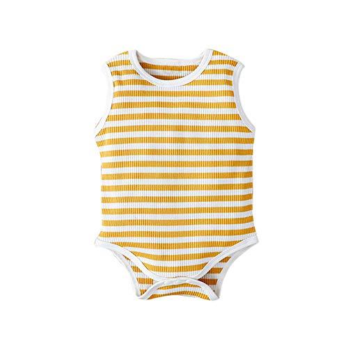 Pijama de algodón a rayas para bebé, niña, niño, para verano, de algodón, para exteriores, con cuello redondo, 1 pieza amarillo 9-12 Meses