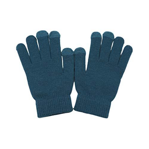 Warme Strickhandschuhe für Herren und Damen, für den Winter, Handwärmer, dicker Fäustling blau