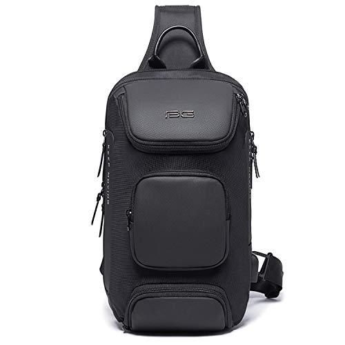SDINAZ Waterproof Sling bag with Anti-theft Chest Bag with USB Charging Port,Men Women Lightweight Travel Shoulder Bag Fit for 9.7'Ipad UK972 Black