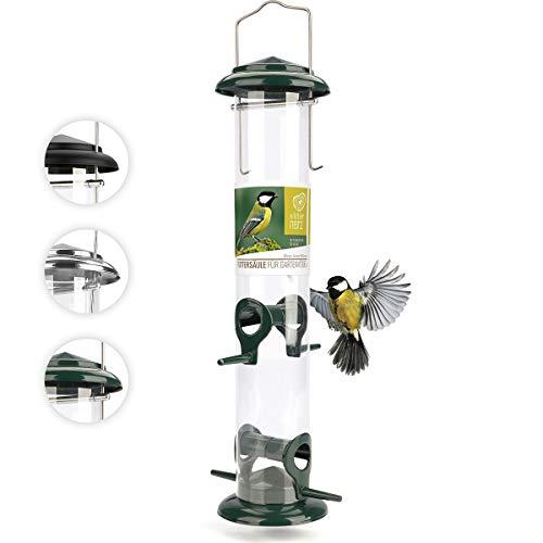 wildtier herz | 38cm Körner Vogelfutterspender grün - 5 Jahre Garantie – aus rostfreiem Metall, Vogel Futterstation, Futtersäule, Wildvögel Futtersilo