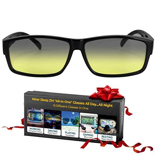 Fit Over 85% Anti Blue Light Blocking Glasses, Photochromic Sunglasses, Night Driving Glasses, Fitover Computer, Gaming & Migraine Glasses for Women & Men - Sleep Better - Stop Eye Strain & Headaches