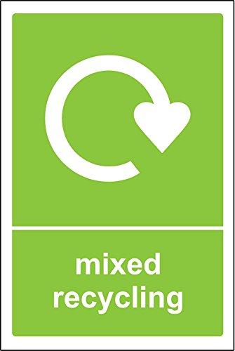Cartel de papelera de reciclaje mixto, vinilo autoadhesivo, 150 mm x 100 mm