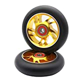 Z-FIRST 2pcs Replacement 100mm Pro Scooter Wheels with ABEC 9 Bearings for MGP/Razor/Lucky/Envy Pro Scooters (Gold)