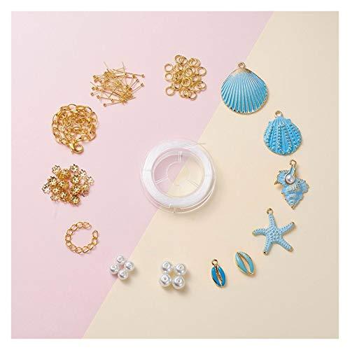 DAXINYANG Colorful Linght Joyería Making Kit DIY Pulseras con suspensión Pintado Colgantes de aleación Aleación Esmalte Beads Hierro Termina Twist Extender Cadenas (Metal Color : 1SetE)
