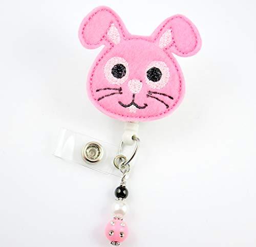 Cute Bunny Face Pink - Nurse Badge Reel - Retractable ID Badge Holder - Nurse Badge - Badge Clip - Badge Reels - Pediatric - RN - Name Badge Holder