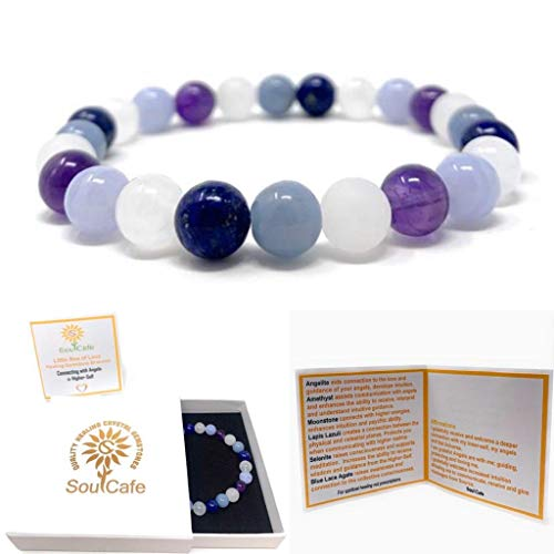 Connecting With Angels Bracelet - Stretch Healing Gemstone Bracelet - Soul Cafe Gift Box & Tag - Angelite, Selenite, Lapis Lazuli, Moonstone, Amethyst, Blue Lace Agate