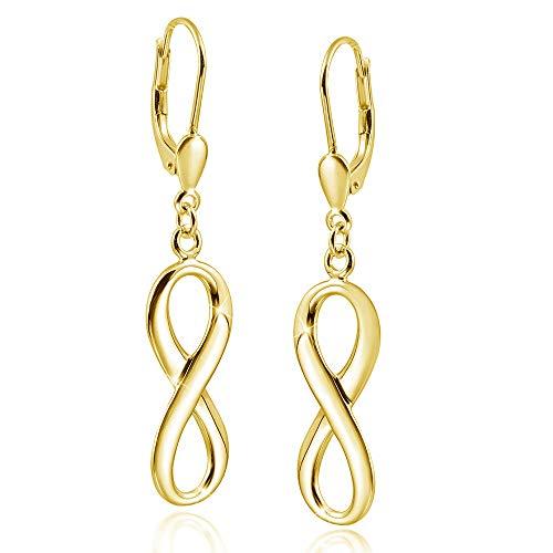 MATERIA Damen Ohrringe Gold hängend - Unendlichkeitszeichen Ohrhänger Silber 925 vergoldet mit Etui SO-249-Gold