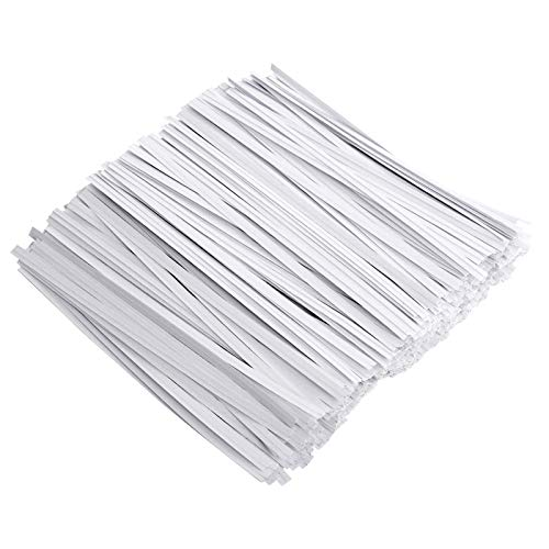 Unves 500 Pcs White Paper Twist Ties Reusable Bread Ties for Bags Candy Coffee Cello Cake Pops (5 Inches)