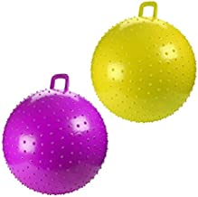 Kicko Bouncy Knobby Ball with Handles 36 Inches - 2 Pack - for Teens and Adults - Assorted Colors, Colors May Vary, Sold Deflated