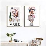 Zhaoyangeng Vogue Girl Canvas Painting Vintage Fashion Art Carteles E Impresiones Decoración De Estilo Nórdico Wall Art Picture For Bedroom- 40X60Cmx2 / Sin Marco