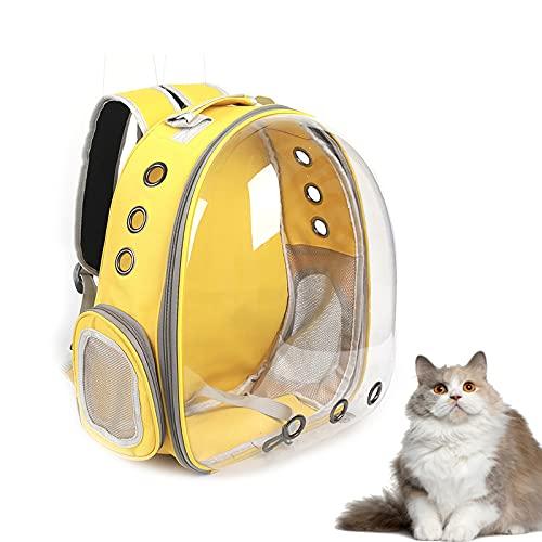 Cuisit Mochila portadora de gato premium, bolsa de transporte de burbujas para mascotas, portátil, con ventilación, para mascotas, viajes, camping, senderismo, caminar, color amarillo