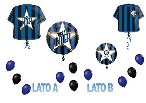 Party Store Web door casa dolce casa Inter Football Sport Foil Ball SUPERSHAPE Kit Boeket CENTROTAVOLA om lucht of lucht op te blazen - CDC - (2 folie bal,1 SUPERSHAPE,20 ballonnen)