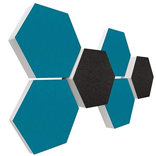 Basotect G+ Schallabsorber 3D-Set < 6 Elemente Ø30cm > Diverse Farben (Dunkelgrau + Petrol)