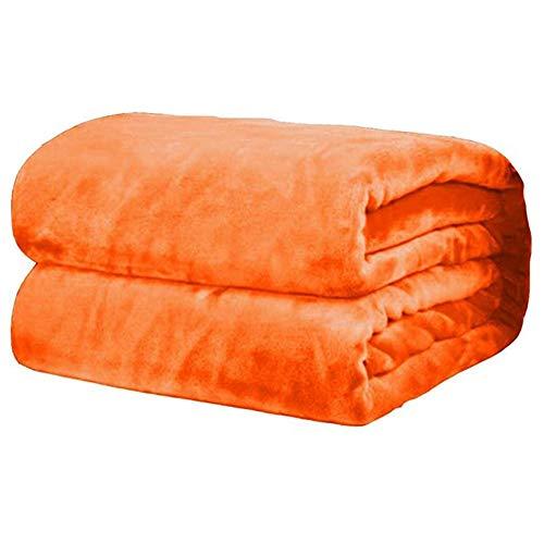 ZIQIANG Manta de Tiro Suave de Lana de Franela de Invierno, Manta de Franela Ultra Suave, Mantas de Peso Ligero multifunción, para sofá Cama, Dormitorio, 70x100cm, Naranja