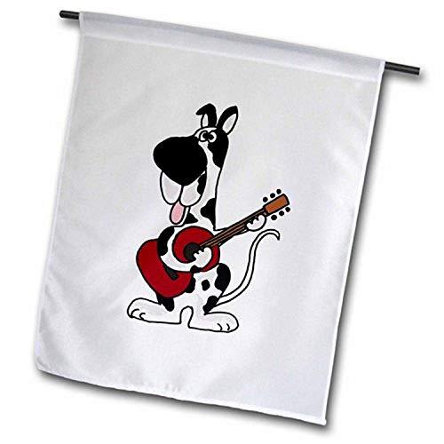 3dRose FL_196079_1 Harlekin Deutsche Dogge spielt die Gitarre, Gartenflagge, 30,5 x 45,7 cm