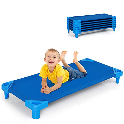 """Costzon Kids Stackable Naptime Cot, 51"""" L x 22.5"""" W, Toddler Daycare Rest Mat w/Easy Lift Corner Detachable Oxford Cloth, Space Saving, Children Preschool Sleeping Cot, Pack of 6 (Dark Blue)"""