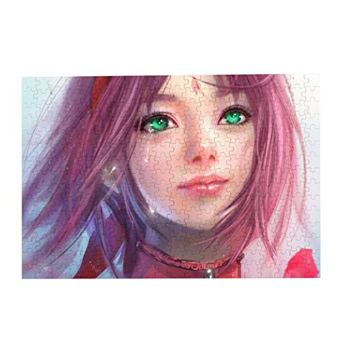 VOROY Jigsaw Picture Puzzles Gift For Girl 300pcs Educational Family Game Wall Artwork,IME Anime Girls Naruto Shippuuden Haruno Pink Hair Green Eyes Crying