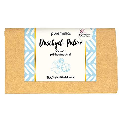 puremetics Zero Waste Duschgel Pulver | für alle Hauttypen | vegan & plastikfrei | ohne Tierversuche (Cotton)