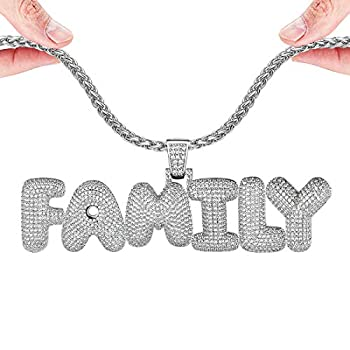 U7 DIY Iced Out Bubble Letter Necklace Men Women Personalized Hip Hop Jewelry Platinum Plated Customizable 1-6 Pcs Bling CZ Initials Pendant Tennis Chain or Spiga Chain 18-30 Inch with Gift Box
