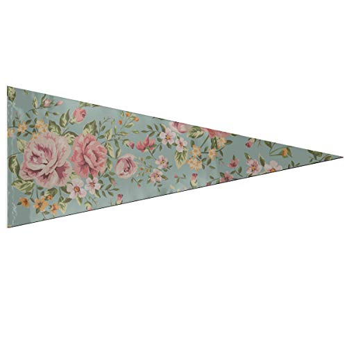 JOCHUAN College Pennant Banner Classic Vintage Rose Flower on Green Party Decoration Flags Classic 12 X 30 inch Soft and Durable for Outdoor and Indoor Pennant Flags