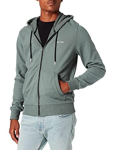 Calvin Klein Small Chest Logo Zip-Thru Hoodie Sudadera con Capucha, Verde bálsamo, XL para Hombre