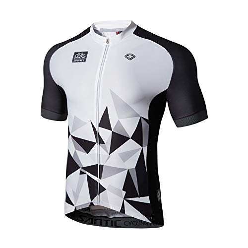 Santic Cycling Jersey Men's Short Sleeve Tops Mountain Biking Shirts Bicycle Jacket with Pockets White