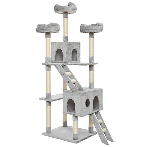 Meerveil Kratzbaum XL XXL, großer Kletterbaum mit Kratzsisal, Stabiler Kratzbaum Katzenbaum, Säulen mit Natürlicher Sisal Umwickelt (Hell Grau)