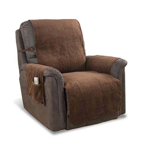 Link Shades Anti-Slip Heavy Duty Recliner Armchair Protector | Water Resistant Microsuede Slipcover | Stay-Put Straps | Cover Protects from Dogs & Other Pets (Recliner, up to 23' seat, Natural)