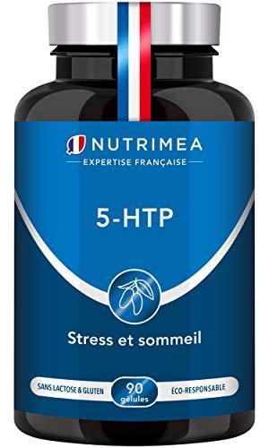5 HTP - 300 mg / dia - Extrato de semente de Griffonia Simplicifolia - Sono restaurador, reduz o estresse, ansiedade, insônia - Vegan 100% natural - Fabricado na França