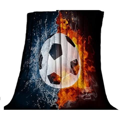 Wohndecke Kuscheldecke Tagesdecke Fußball Motiv Decke Wolldecke EM Charakter ohne Sherpa Motiv Fussball